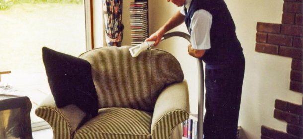 Chair fabric being cleaned